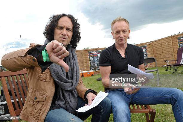 Vivian Campell and Phil Collen of English rock band Def Leppard during an interview backstage at Download Festival June 10 Donington Park