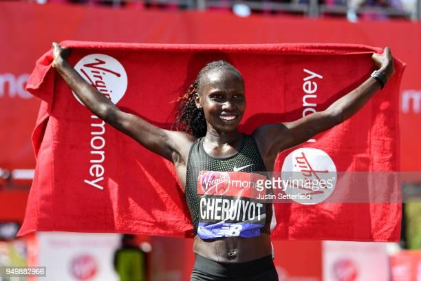 Vivian Cheruiyot of Kenya celebrates after winning the women's race during the Virgin Money London Marathon at United Kingdom on April 22, 2018 in...