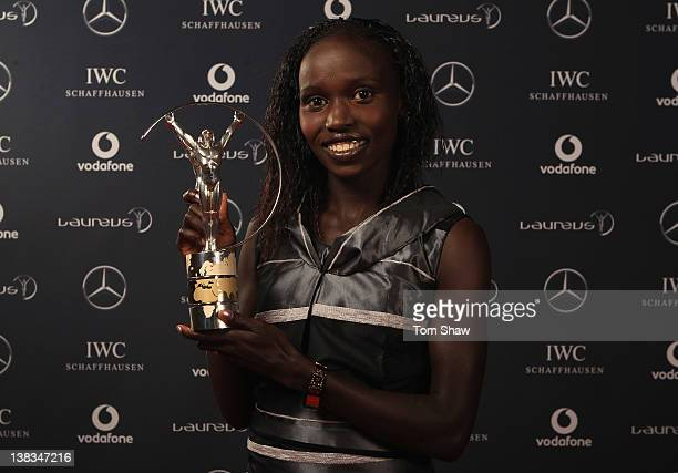 Vivian Cheruiyot of Kenya the Laureus Sportswoman of the Year poses in the Winners Studio during the 2012 Laureus World Sports Awards at Central Hall...