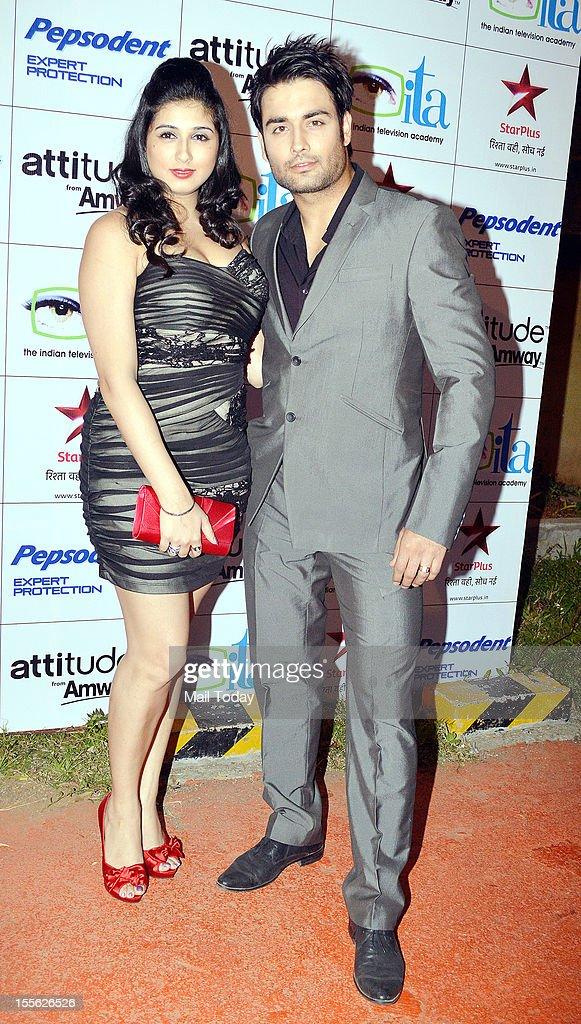Vivian Dsena with girlfriend Vahbiz Dorabjee during Indian Television Academy Awards 2012 (ITA Awards), held in Mumbai on November 4, 2012.