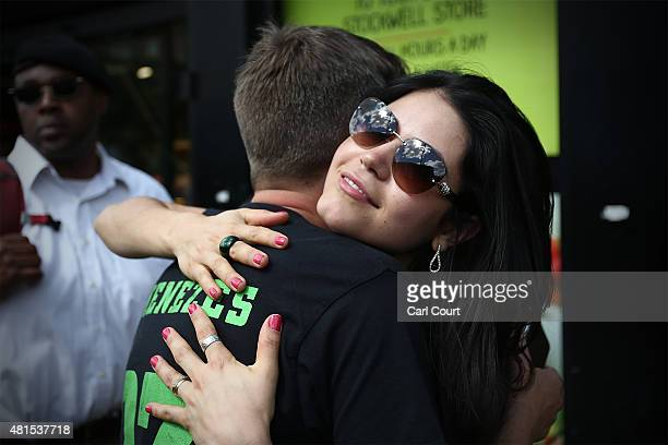 Vivian Figueiredo is greeted by a supporter as she attends a memorial to mark the 10th anniversary of the death of her cousin Jean Charles de Menezes...