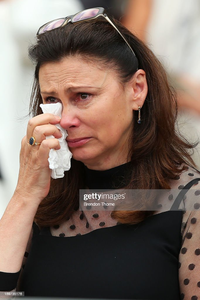 Vivian Greig wipes away tears during the Tony Greig memorial service at Sydney Cricket Ground on January 20, 2013 in Sydney, Australia.