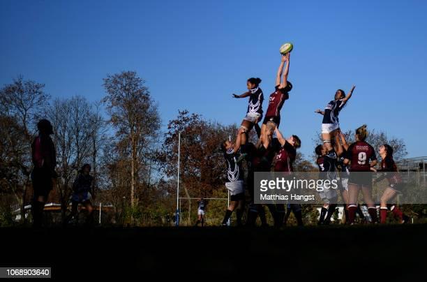 Vivian Gresser of Köln wins a lineout ball against Amelie Harris of Neuenheim during the Women's Rugby Bundesliga match between SC Neuenheim 02 and...