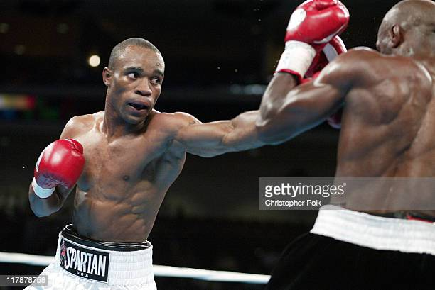 Vivian Harris white trunks fights Souleymane M Baye black trunks during a 12 round WBA Super Lightweight Championship held at The Orleans Arena in...