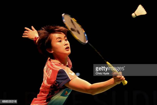 Vivian Hoo of Malaysia competes in her Quarter Final match partnered with Woon Khe Wei against Misaki Matsutomo and Ayaka Takahashi of Japan during...