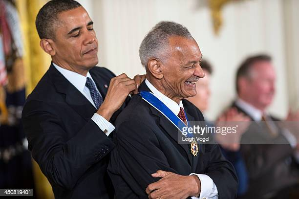 Vivian is presented the 2013 Presidential Medal of Freedom by President Barack Obama in the East Room of the White House on November 20, 2013 in...