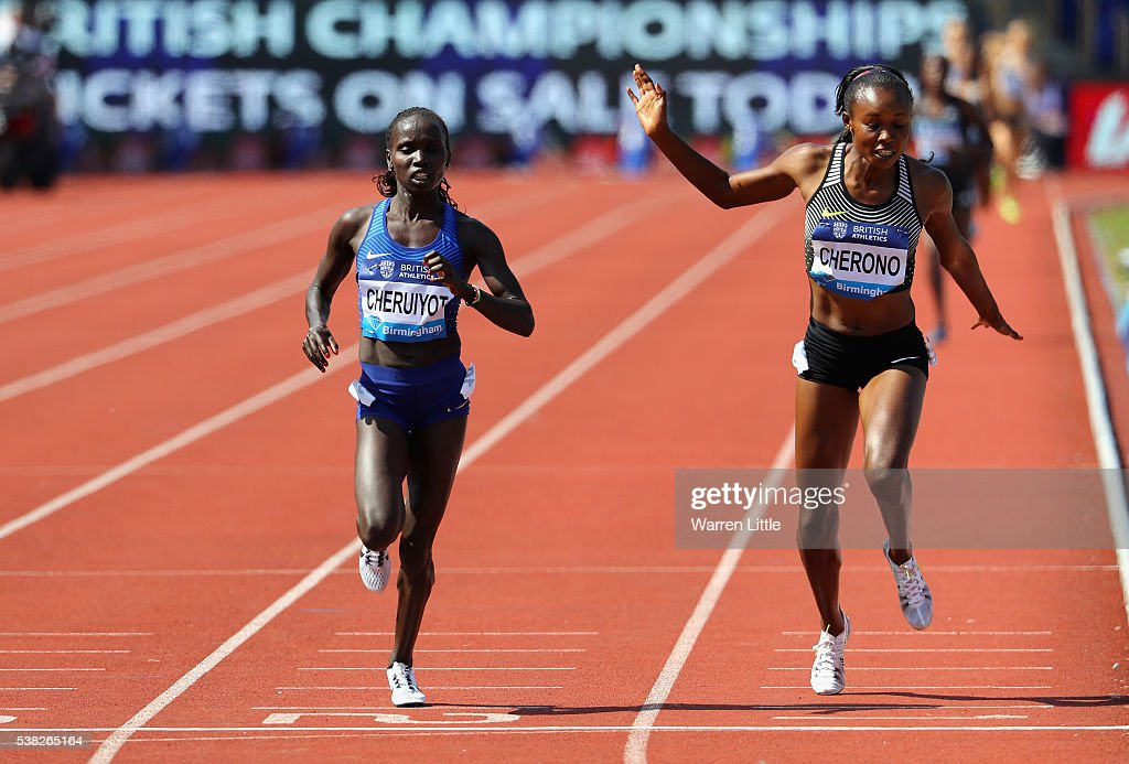 Vivian Jepkemoi Cheruiyot of Kenya beats Mercy Cherono of Kenya to win the 5000m Women's Final during the Birmingham Diamond League meet at Alexander Stadium on June 5, 2016 in Birmingham, England.