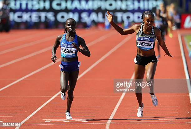 Vivian Jepkemoi Cheruiyot of Kenya beats Mercy Cherono of Kenya to win the 5000m Women's Final during the Birmingham Diamond League meet at Alexander...