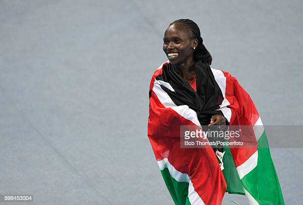 Vivian Jepkemoi Cheruiyot of Kenya celebrates after winning the Women's 5000m Final on Day 14 of the Rio 2016 Olympic Games at the Olympic Stadium on...