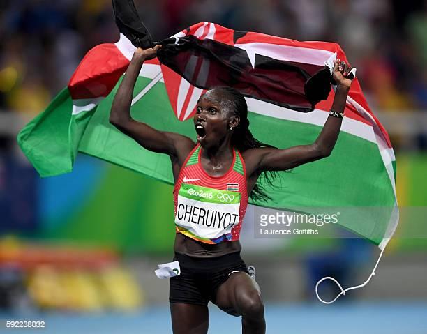 Vivian Jepkemoi Cheruiyot of Kenya celebrates winning the Women's 5000m Final and setting a new Olympic record of 14:26.17 on Day 14 of the Rio 2016...