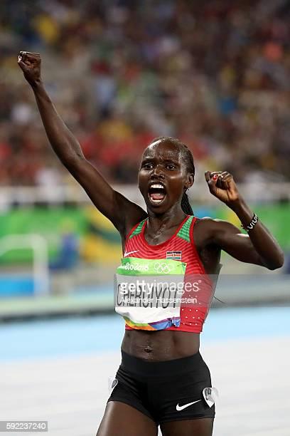 Vivian Jepkemoi Cheruiyot of Kenya celebrates winnning the Women's 5000m Final on Day 14 of the Rio 2016 Olympic Games at the Olympic Stadium on...