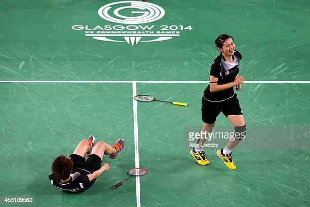 Vivian Kah Mun Hoo and Khe Wei Woon of Malaysia celebrate winning gold in the Women's Doubles Gold Medal Match against Jwala Gutta and Ashwini...
