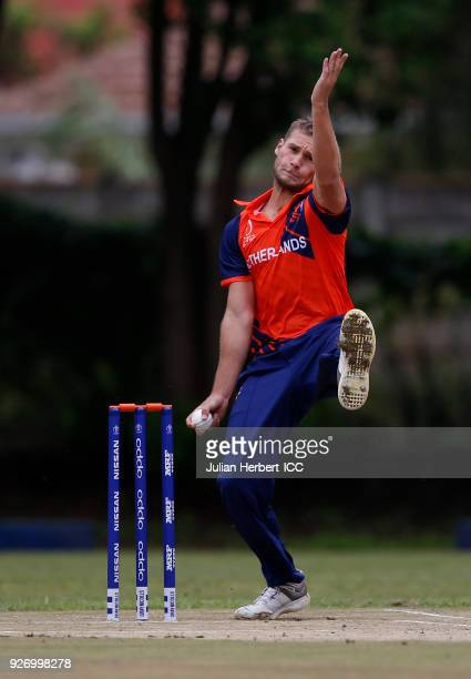 Vivian Kingma of The Netherlands bowls during the ICC Cricket World Cup Qualifier between Ireland and The Netherlands at The Old Hararians Ground on...