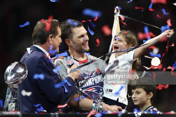 Vivian Lake Brady daughter of Tom Brady celebrates the Patriots' 133 win over the Los Angeles Rams during Super Bowl LIII at MercedesBenz Stadium on...