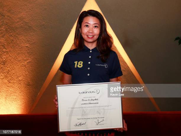 Vivian Lee Ying Shih poses with the certificate before the Laureus Hong Kong Ambassador Announcement ceremony at Mercedes Me Store on December 04...