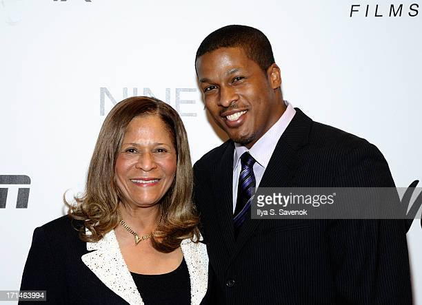 C Vivian Stringer and son Justin Stringer attend 'Venus Vs' and 'Coach' New York Special Screenings at Paley Center For Media on June 24 2013 in New...