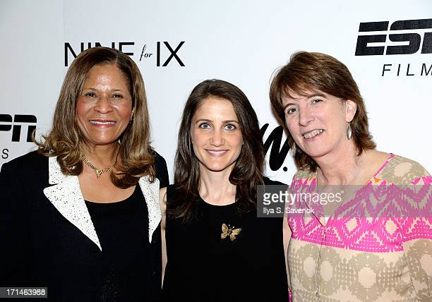 C Vivian Stringer Bess Kargman and Carol Stiff attend 'Venus Vs' and 'Coach' New York Special Screenings at Paley Center For Media on June 24 2013 in...