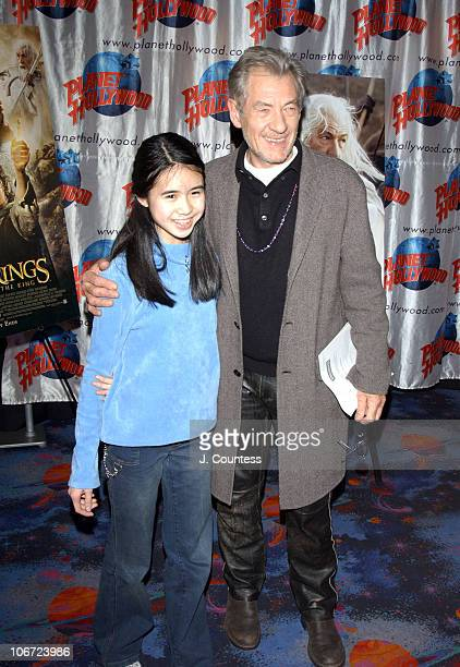 Vivian Troung and Ian Mckellen pose for photos prior to the private screening of 'Lord of the Rings Return of the King' Vivian Troung an 8th grader...