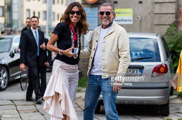 Viviana Volpicella and Alessandro Squarzi is seen outside Gucci during Milan Fashion Week Spring/Summer 2017 on September 21 2016 in Milan Italy