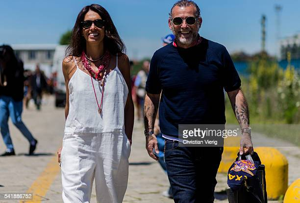 Viviana Volpicella and Alessandro Squarzi outside Gucci during the Milan Men's Fashion Week Spring/Summer 2017 on June 20 2016 in Milan Italy