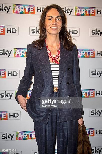 Viviana Volpicella attends a photocall for Franco Battiato concert for Sky Arte at HangarBicocca on January 26 2016 in Milan Italy