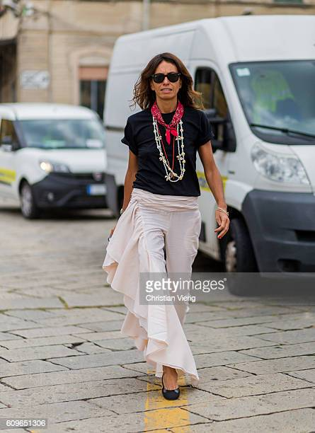 Viviana Volpicella is seen outside Gucci during Milan Fashion Week Spring/Summer 2017 on September 21 2016 in Milan Italy