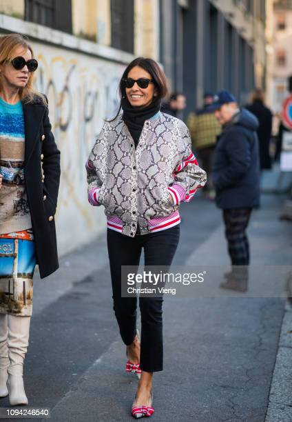 Viviana Volpicella is seen wearing jacket with snake print outside N21 during Milan Menswear Fashion Week Autumn/Winter 2019/20 on January 14 2019 in...