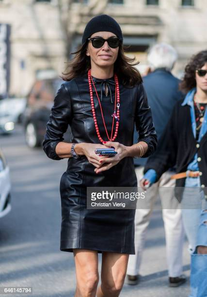 Viviana Volpicella wearing a black leather dress beanie outside Armani during Milan Fashion Week Fall/Winter 2017/18 on February 27 2017 in Milan...