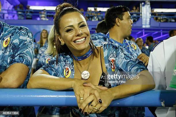 Viviane Araujo attends the Carnival parade on the Sambodromo during Rio Carnival on February 16 2015 in Rio de Janeiro Brazil