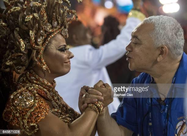 Viviane Araujo dances during Salgueiro performance at the Rio de Janeiro Carnival at Sambodromo on February 26 2017 in Rio de Janeiro Brazil