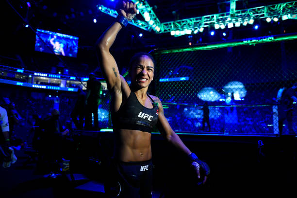 Viviane Araujo of Brazil reacts after her victory over Roxanne Modafferi in a flyweight fight during the UFC Fight Night event at Etihad Arena on UFC...