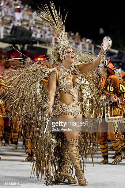 Viviane Araujo of Salgueiro dance during the samba school's parade group A at Rio de Janeiro's carnival on February 20 2012 in Rio de Janeiro Brazil...