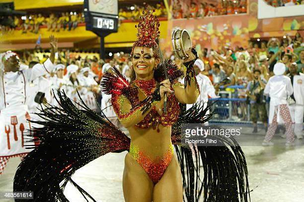 Viviane Araujo participates in the parade on the Sambodromo during Rio Carnival on February 15 2015 in Rio de Janeiro Brazil
