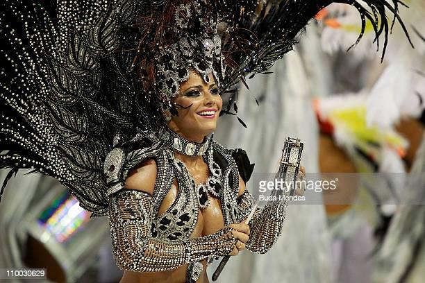 Viviane Araujo queen of the drums of Salgueiro dance during the samba school's champions parade at Marques de Sapucai on March 12 2011 in Rio de...