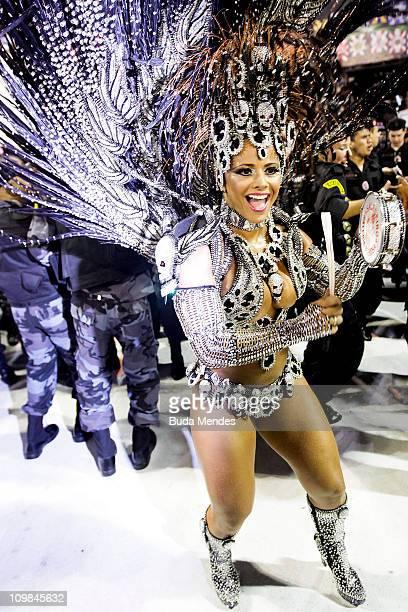Viviane Araujo queen of the drums of Salgueiro dances during the samba school's parade at Rio de Janeiro's carnival on on March 07 2011 in Rio de...