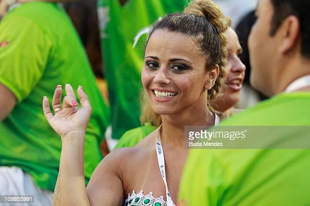Viviane Araujo queen of the drums of Salgueiro during the samba school's parade at Rio de Janeiro's carnival on on March 07 2011 in Rio de Janeiro...