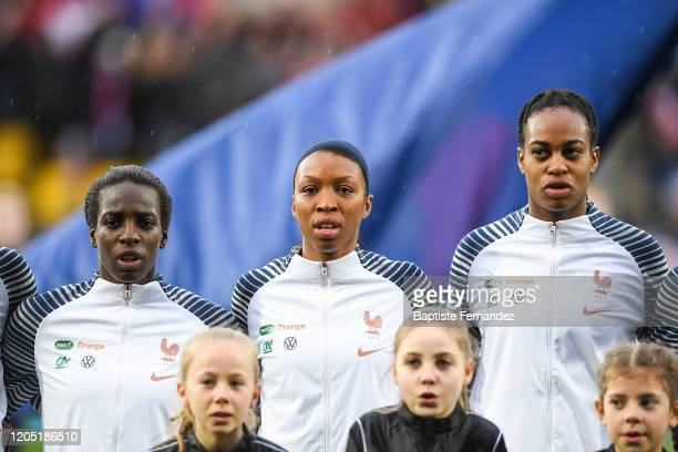 Viviane ASSEYI of France Grace GEYORO of France and Marie Antoinette KATOTO of France during the Tournoi de France International Women's soccer match...