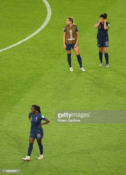 Viviane Asseyi of France looks dejected following her sides defeat in the 2019 FIFA Women's World Cup France Quarter Final match between France and...