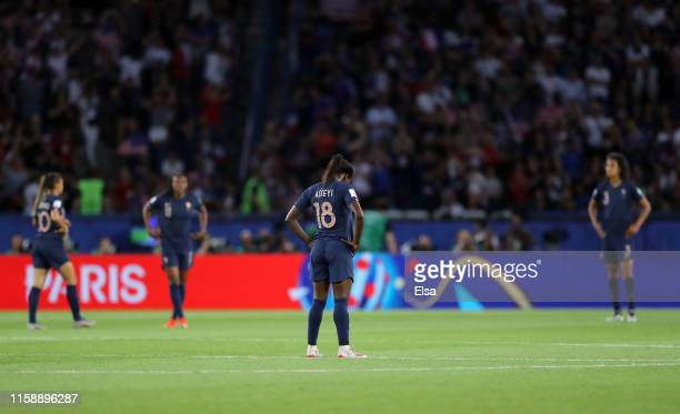 Viviane Asseyi of France looks dejected following the 2019 FIFA Women's World Cup France Quarter Final match between France and USA at Parc des...