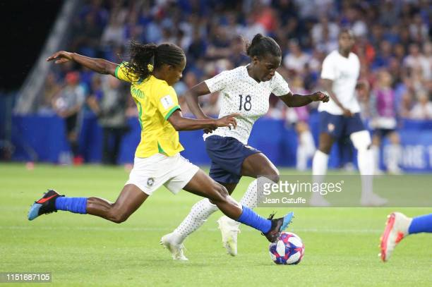 Viviane Asseyi of France Miraildes Maciel Mota aka Formiga of Brazil during the 2019 FIFA Women's World Cup France Round Of 16 match between France...