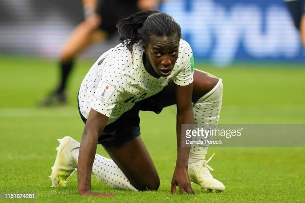 Viviane Asseyi of France on the ground during the 2019 FIFA Women's World Cup France Round Of 16 match between France and Brazil at Stade Oceane on...