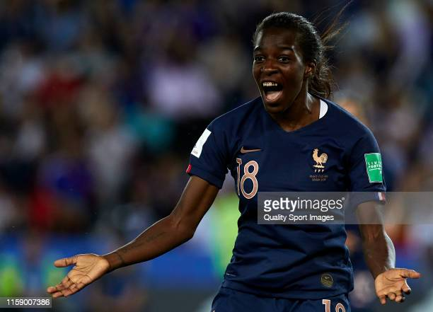Viviane Asseyi of France reacts during the 2019 FIFA Women's World Cup France Quarter Final match between France and USA at Parc des Princes on June...