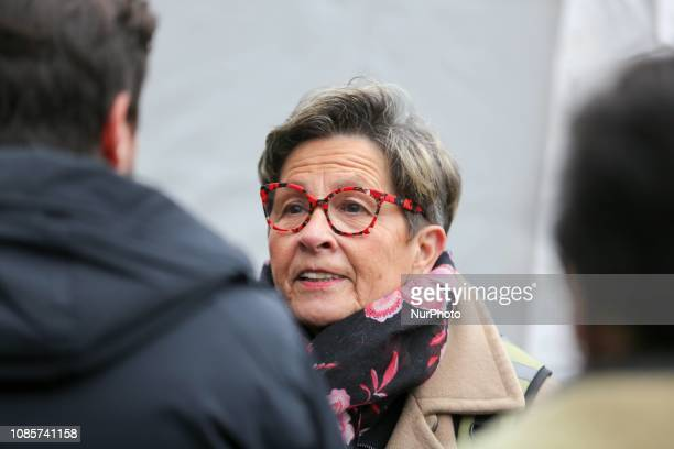 Viviane Lambert the mother of French quadriplegic Vincent Lambert who is being kept artificially alive since 2008 after a car accident takes part in...