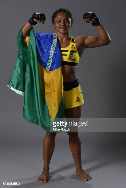 Viviane Pereira of Brazil poses for a portrait backstage after her victory over Jamie Moyle during the UFC 212 event at Jeunesse Arena on June 3 2017...