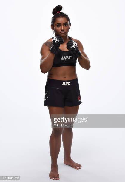 Viviane Pereira of Brazil poses for a portrait during a UFC photo session on November 8 2017 in Norfolk Virginia