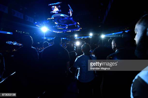 Viviane Pereira of Brazil prepares to enter the Octagon prior to facing Tatiana Suarez in their women's strawweight bout during the UFC Fight Night...