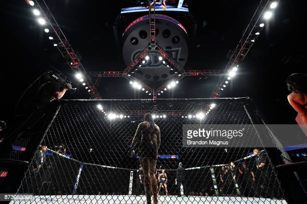 Viviane Pereira of Brazil stands in her corner prior to facing Tatiana Suarez in their women's strawweight bout during the UFC Fight Night event...