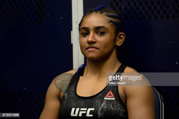 Viviane Pereira of Brazil waits backstage during the UFC Fight Night event inside the Ted Constant Convention Center on November 11 2017 in Norfolk...