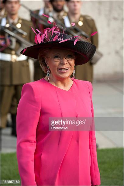 Viviane RedingVice President of the European Commission and Luxembourg politician arrives at the Cathedral before the wedding ceremony of Prince...