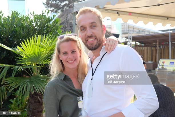 Viviane Wilde owner of Agentur Bockstein and Rene Voeller during the 'WhatsGoal Summit' on August 16 2018 in Duesseldorf Germany